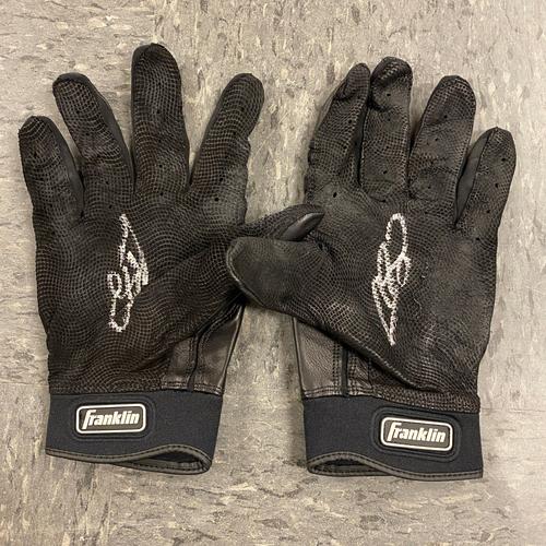 Photo of 2019 Holiday Sale - 2019 Autographed Batting Gloves signed by #53 Austin Slater - Black Franklin Batting Gloves