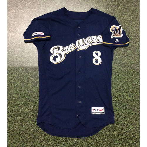 Photo of Ryan Braun 08/17/19 Game-Used Navy Alternate Jersey - 3-6, 2 HR, 2 RBI, SB, BB, 3 R