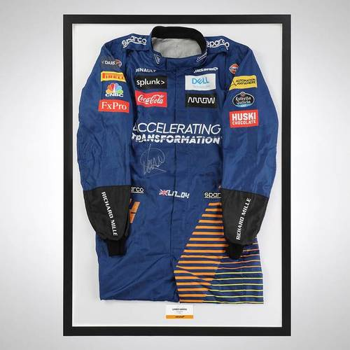 Photo of Lando Norris 2020 Framed Signed Official Replica Race Suit