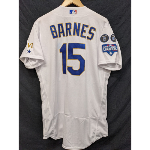 Photo of Austin Barnes Game-Used Gold Trim Re-Opening Day Jersey - 6/15/21