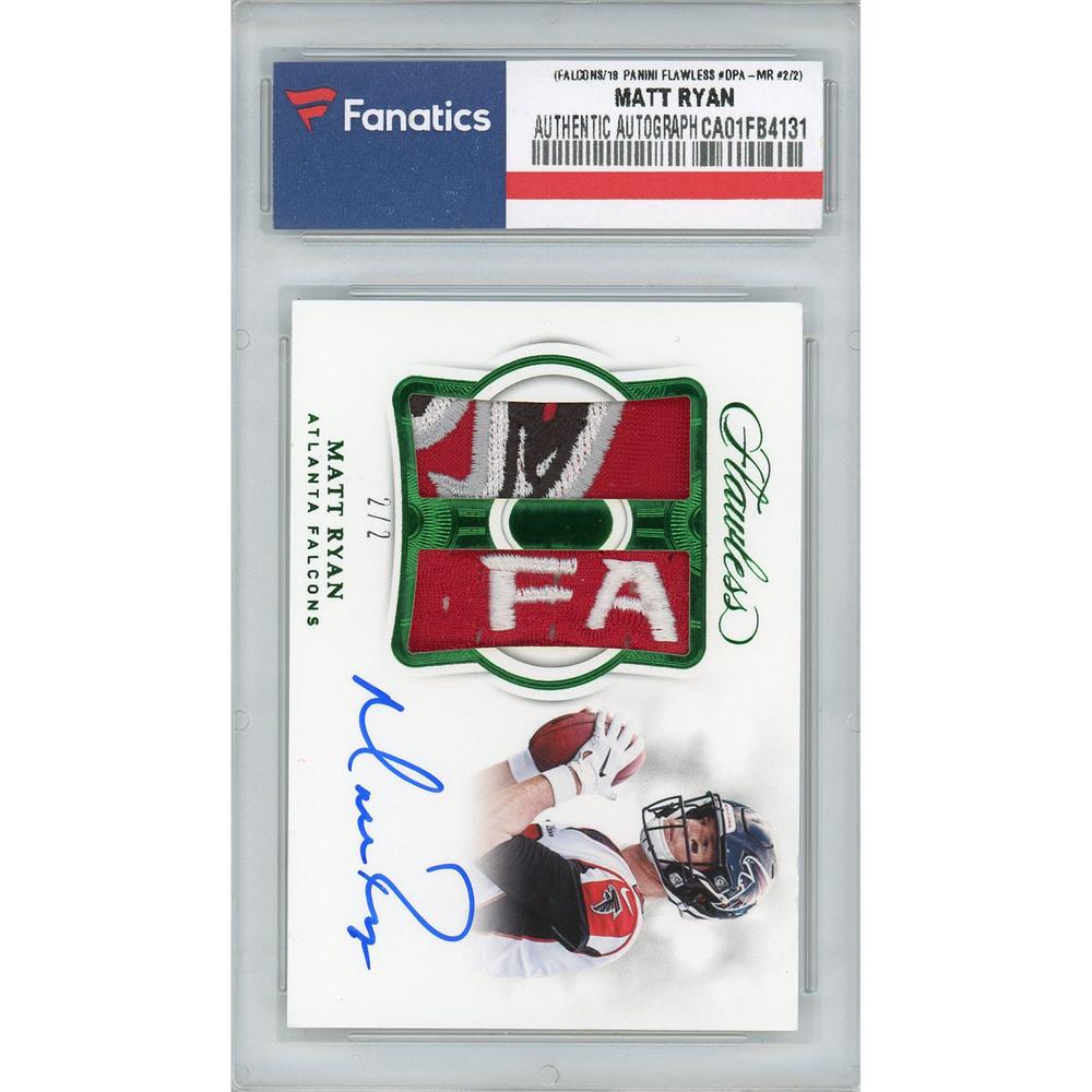 Matt Ryan Atlanta Falcons Autographed 2018 Panini Flawless Emerald Jumbo Prime Patch Relic #DPA-MR #2/2 Card