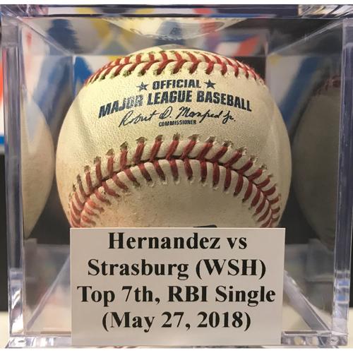 Photo of Game-Used Baseball: Stephen Strasburg RBI Single (May 27, 2018)