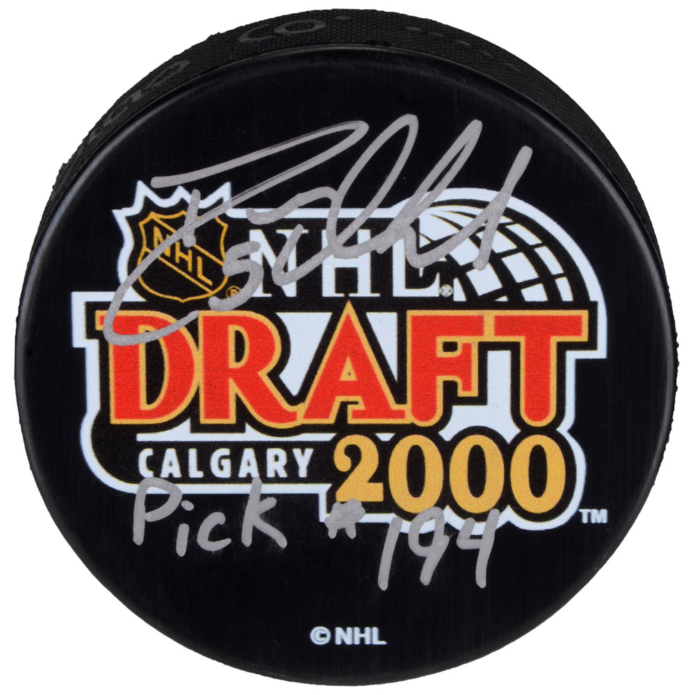 Deryk Engelland Vegas Golden Knights Autographed 2000 NHL Draft Hockey Puck with Pick #194 Inscription