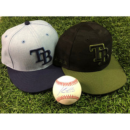 Photo of 2018 All-Star Package #3: Kevin Cash - Game Used Father's Day Hat, Team Issued Memorial Day Hat and Autographed Baseball