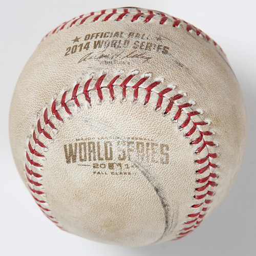 Photo of Game-Used Baseball: 2014 World Series Game 2 - San Francisco Giants at Kansas City Royals - Batter: Hunter Pence, Pitcher: Wade Davis - Top of 8, Foul Back to Screen