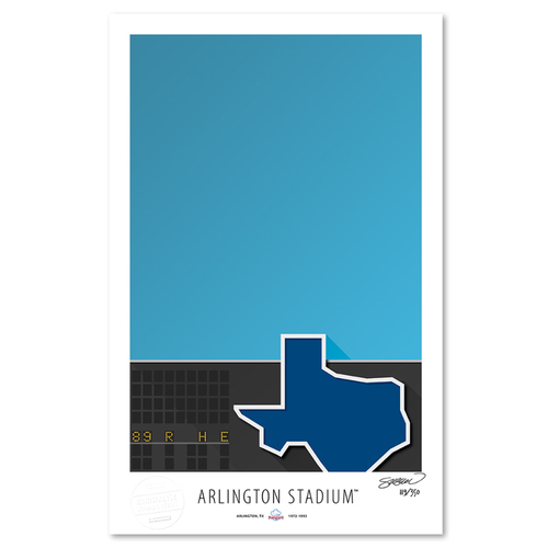 Photo of Arlington Stadium- Collector's Edition Minimalist Art Print by S. Preston #119/350  - Texas Rangers
