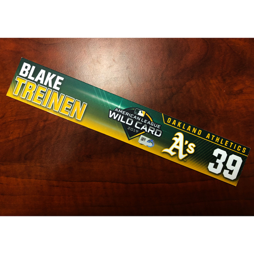 Photo of Blake Treinen Game-Used 2019 A.L. Wild Card Locker Nameplate