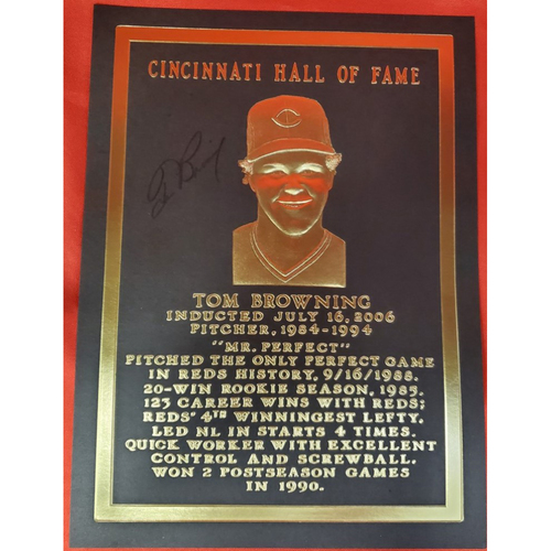 Photo of Tom Browning Autographed Plaque Card