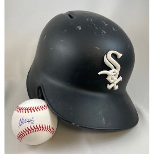 The YoYo Deluxe Package - Yoan Moncada 2017 Game-Used Black Matte Helmet and Autographed Baseball