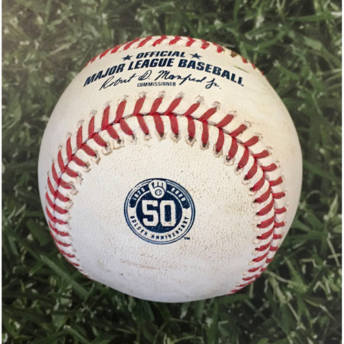 Photo of Game-Used Baseball CIN@MIL 08/27/20 (Game 2 of Doubleheader) - Freddy Peralta - Jesse Winker: RBI Double