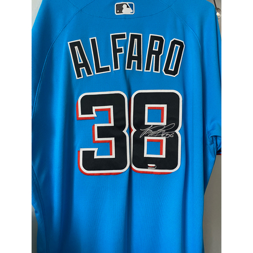 Photo of Team-Issued and Autographed Jorge Alfaro Jersey - Size 48