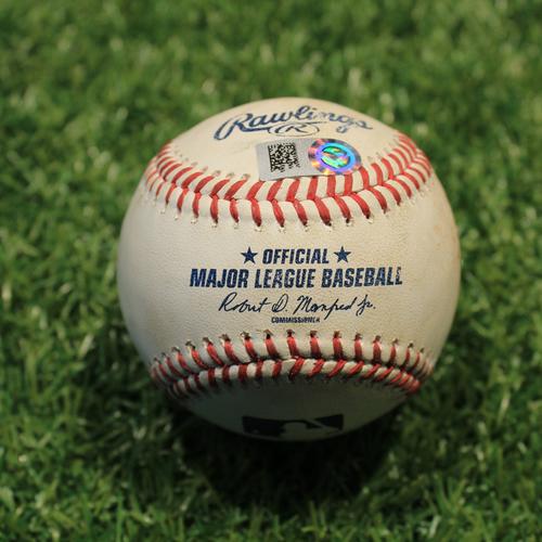 Photo of Game-Used Baseball: Luis Robert 108th Career Hit (CWS@KC 9/4/21)