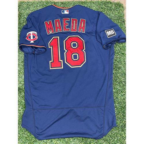 Photo of Minnesota Twins: 2021 Game-Used Kenta Maeda Jersey - worn 7/9/2021 - 7 Strikeouts over five scoreless innings vs. Detroit Tigers