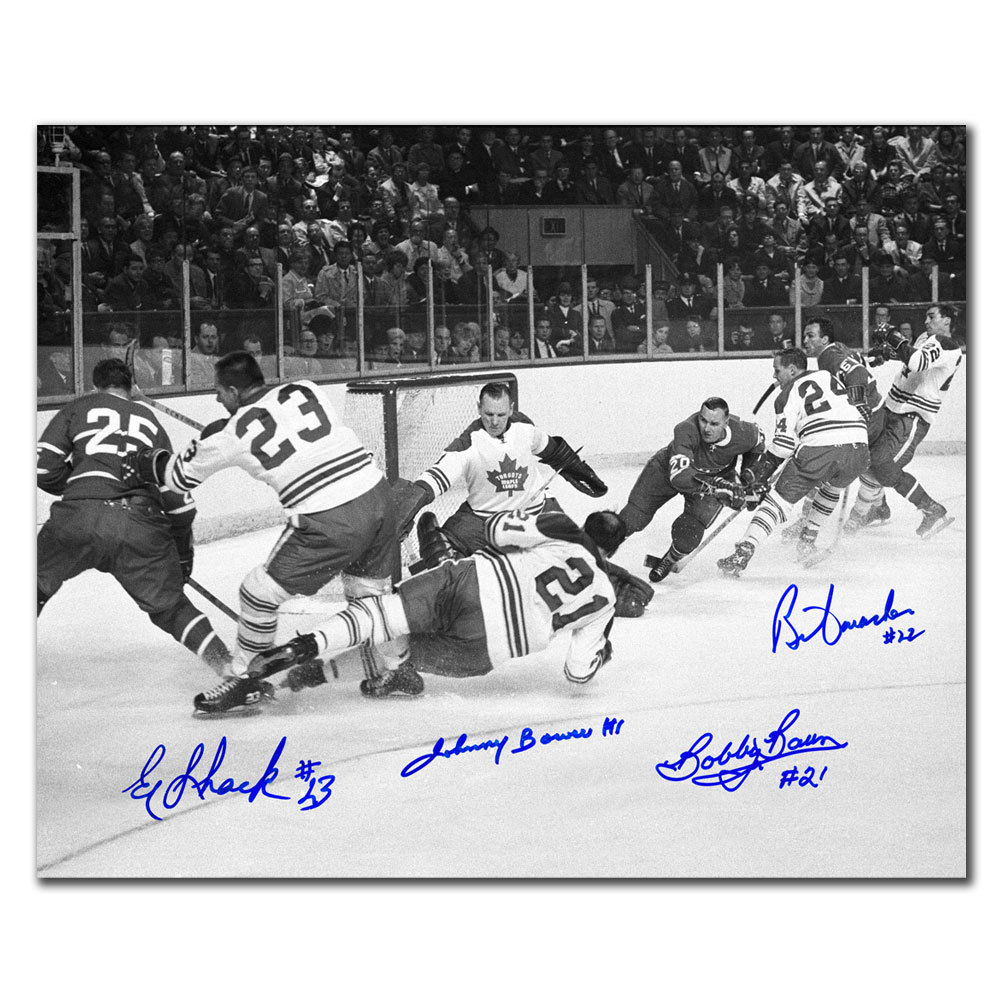 Johnny Bower, Eddie Shack, Bobby Baun & Brian Conacher Toronto Maple Leafs vs. Montreal 1967 Stanley Cup Finals Autographed 11x14