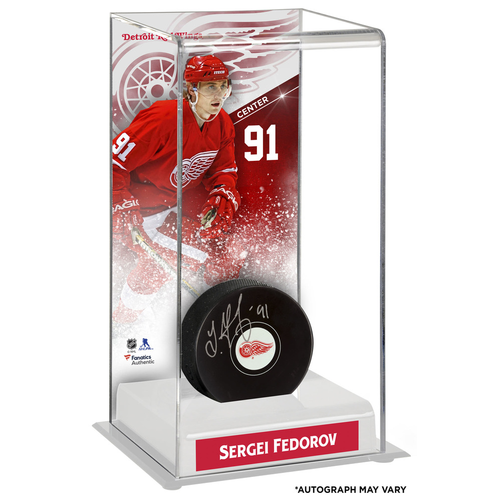 Sergei Fedorov Detroit Red Wings Autographed Puck with Deluxe Tall Hockey Puck Case