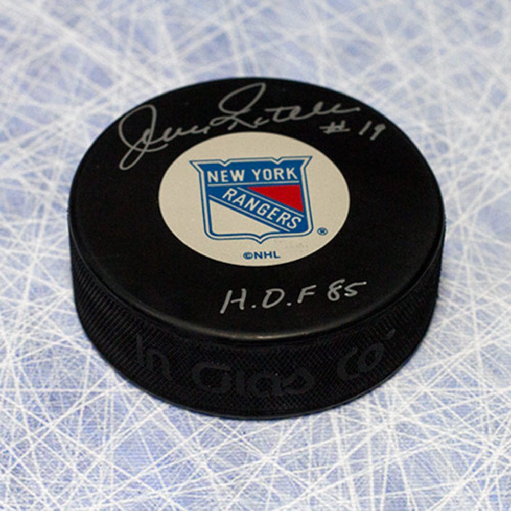 Jean Ratelle New York Rangers Autographed Hockey Puck with HOF Inscription