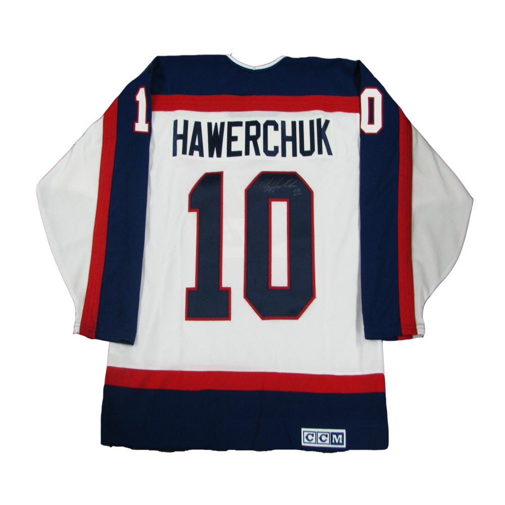 save off 36326 4bc31 DALE HAWERCHUK Signed Winnipeg Jets White CCM Jersey - NHL ...