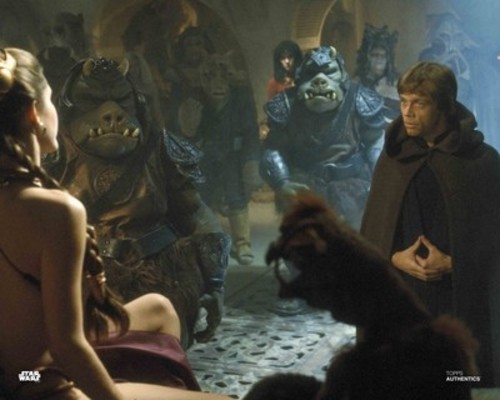 Luke Skywalker and Princess Leia Organa with Gamorrean Guards