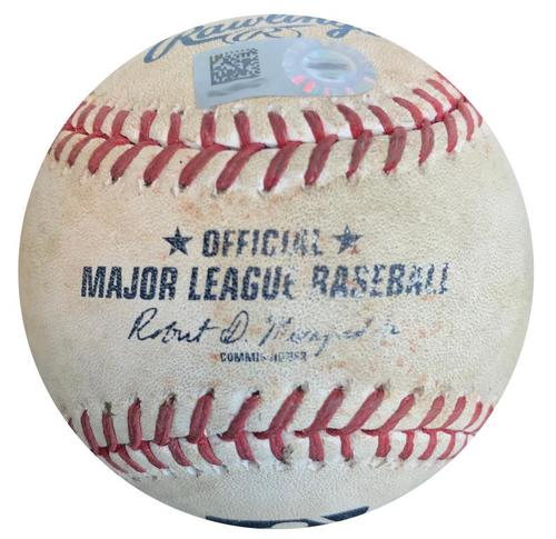 Photo of Game-Used Baseball from Pirates vs. Brewers on 6/9/15 - Carlos Gomez Single