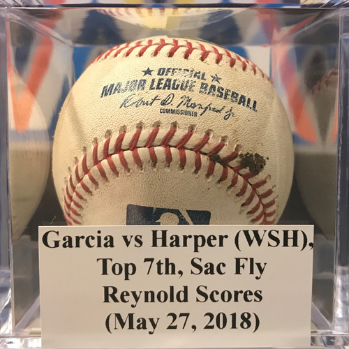 Photo of Game-Used Baseball: Bryce Harper Sac Fly - Reynolds Scores (May 27, 2018)