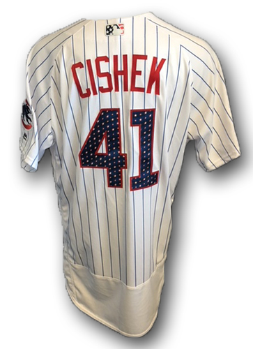 Photo of Steve Cishek Stars and Stripes Game-Used Jersey -- Tigers vs. Cubs -- 7/4/18