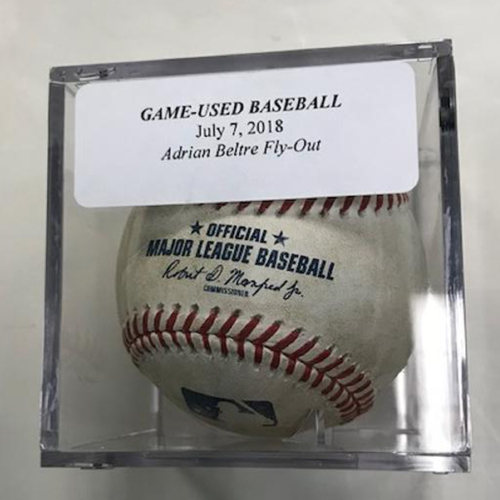 Photo of Game-Used Baseball: Adrian Beltre Fly Out