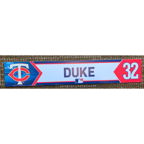 Photo of 2018 Game-Used Zach Duke Minnesota Twins Lockertag