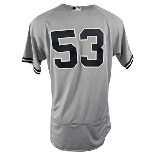 Photo of Zach Britton New York Yankees 2018 ALDS Team Issued #53 Road Gray Jersey (10/5/18)
