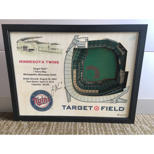 """Photo of Mauer Autographed Target Field """"Stadium View"""" Wall Hanging"""