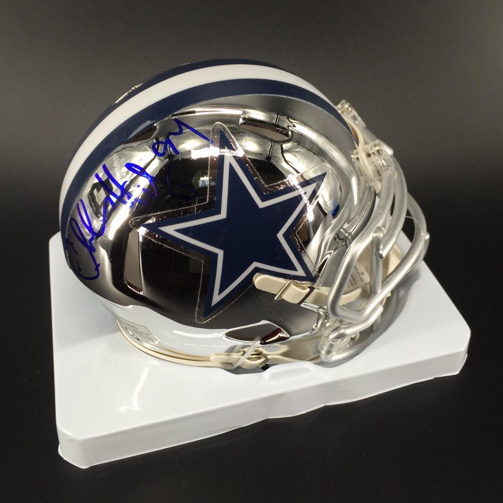 HOF - Cowboys Charles Haley Signed Chrome Mini Helmet