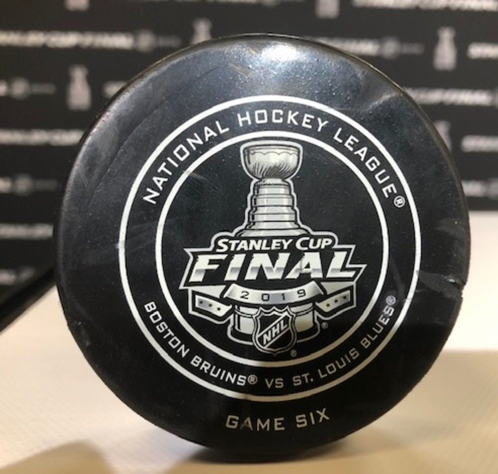 2019 NHL Stanley Cup Final, Game 6, Period 1, Official Game Used Puck - Boston Bruins vs. St Louis Blues - 6/9/19