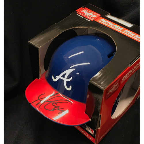 Photo of Ozzie Albies MLB Authenticated and Autographed Miniature Rawlings Batting Helmet