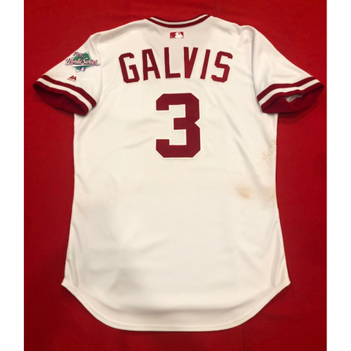 Photo of Freddy Galvis -- Game-Used 1990 Throwback Jersey (Starting 2B) -- Cardinals vs. Reds on Aug. 18, 2019 -- Jersey Size 44