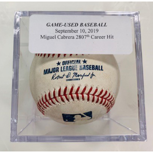 Photo of Game-Used Baseball: Miguel Cabrera 2,807th Career Hit