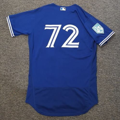 Photo of Authenticated Game Used 2019 Spring Training Jersey - #72 Santiago Espinal (Mar 26). Size 44