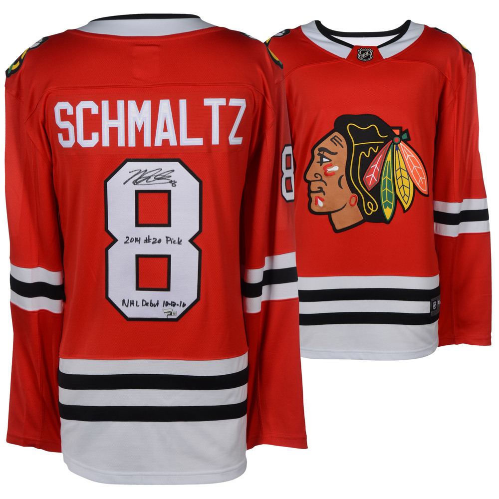Nick Schmaltz Chicago Blackhawks Autographed Red Fanatics Breakaway Jersey with Multiple Inscriptions - LE #8 of 8