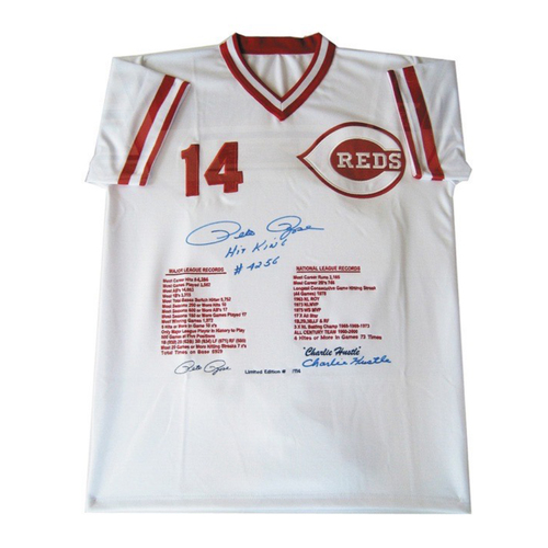 Photo of Pete Rose Autographed Stats Jersey (Number 54 of 114)