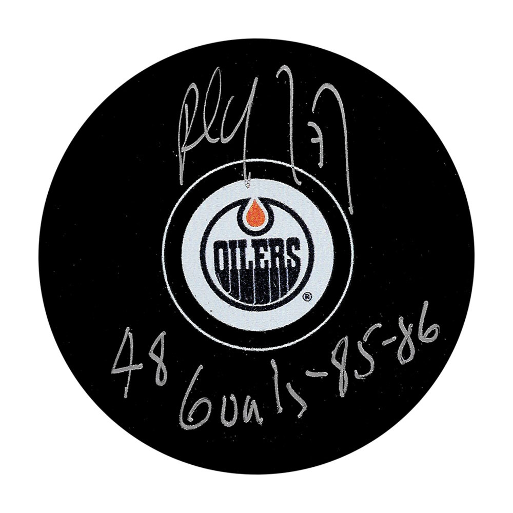 Paul Coffey Autographed Edmonton Oilers Puck w/48 GOALS 1985-86 Inscription