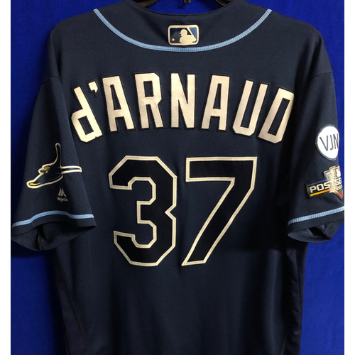 Photo of Game Used Wild Card and ALDS Navy Jersey: Travis d'Arnaud - 3 Games - October 2019 at OAK and HOU