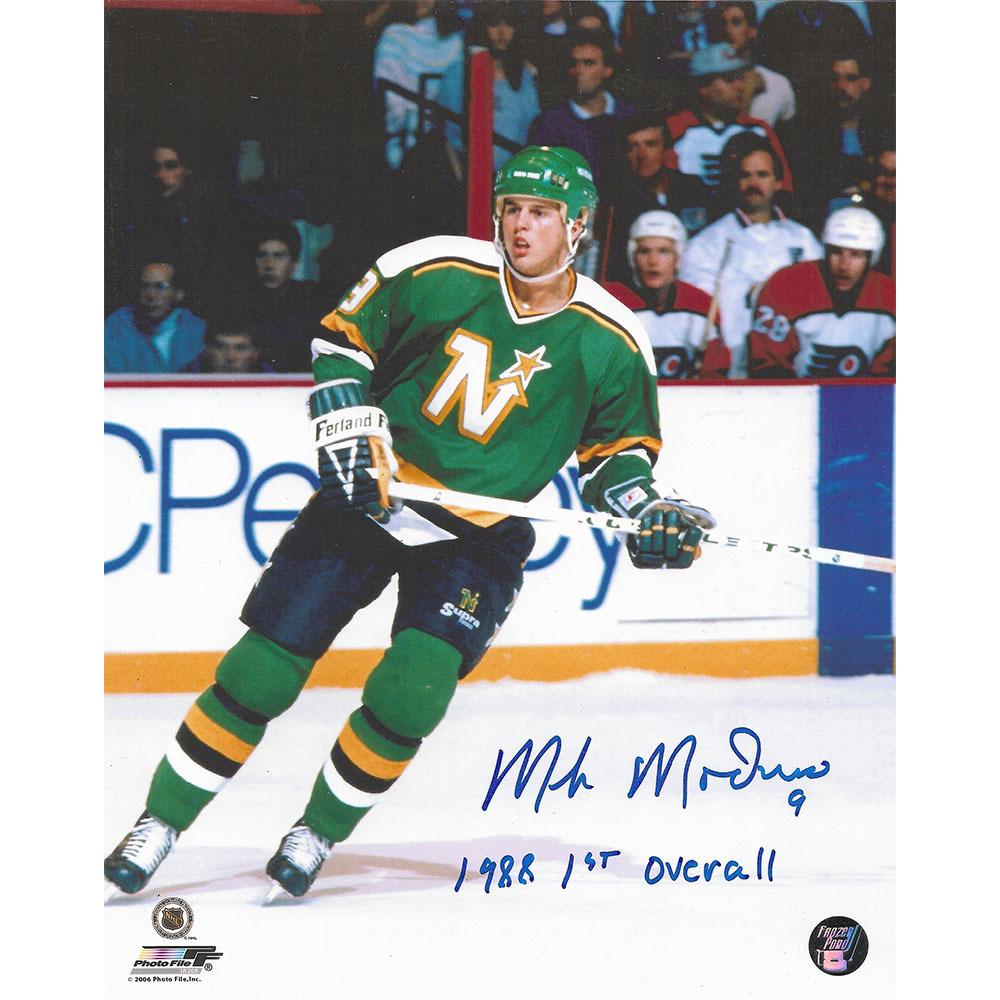 Mike Modano Autographed Minnesota North Stars 8X10 Photo w/1988 1ST PICK Inscription