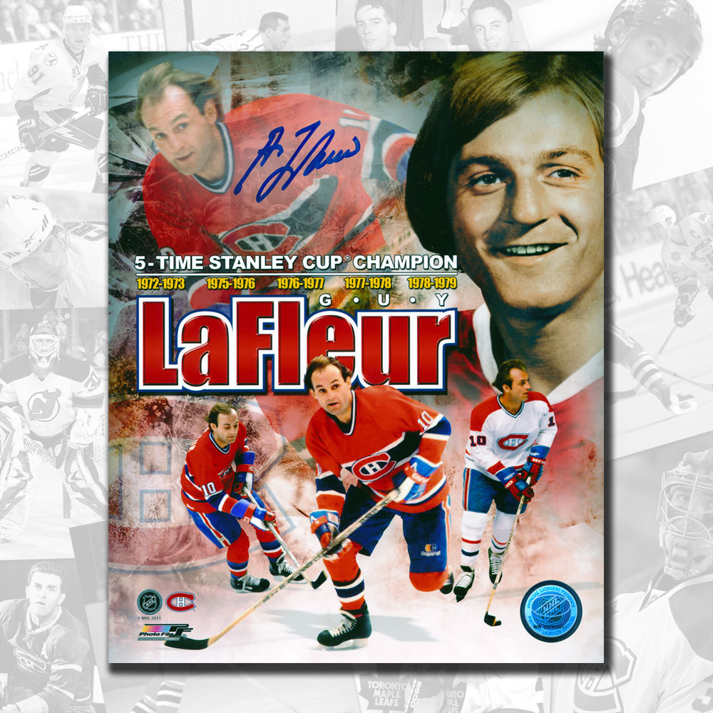 Guy Lafleur Montreal Canadiens Stanley Cup Collage Autographed 8x10