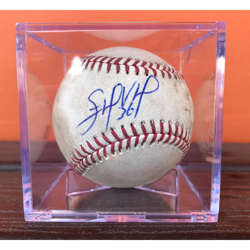 Photo of Game-Ready, Autographed Baseball: Edinson Volquez *No-Hitter Game* (6.3.17)
