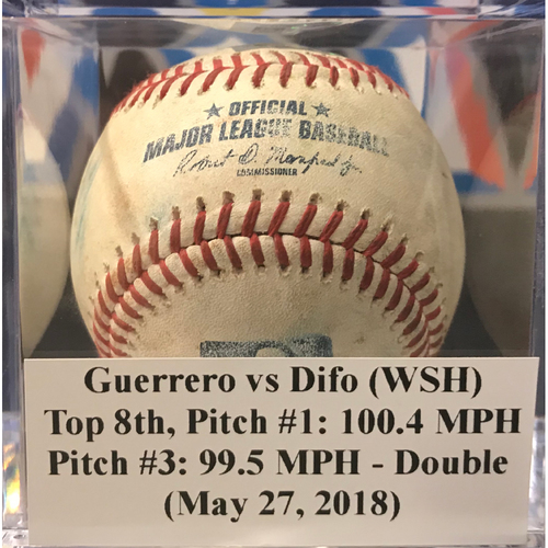 Photo of Game-Used Baseball: Guerrero vs Difo - Pitch #1: 100.4 MPH, Pitch #3: 99.5 MPH - Difo Double (May 27, 2018)