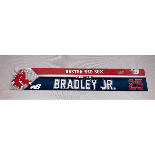 Photo of Jackie Bradley Jr September 12, 2016 Game-Used Locker Tag