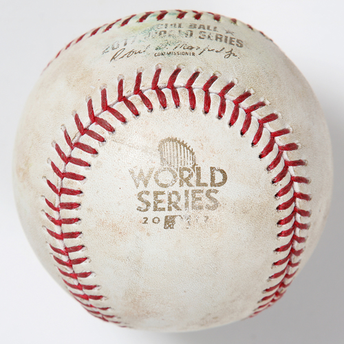 Photo of Game-Used Baseball: 2017 World Series Game 5 - Los Angeles Dodgers at Houston Astros - Batter: Justin Turner, Pitcher: Brad Peacock - Top of 7, Double