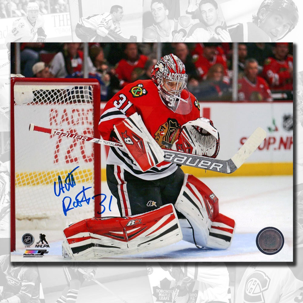 Antti Raanta Chicago Blackhawks Butterfly Save Autographed 8x10