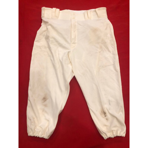 Photo of Joey Votto -- Game-Used Pants -- 1902 (Starting 1B: First Stolen Base of 2019) & 1912 Throwback Games (Starting 1B: Went 0-for-3, BB) -- Size: 35-42-20