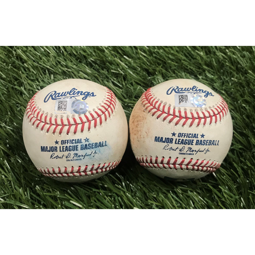 Photo of Stephen Strasburg Strikeout and Hit Single Baseballs - August 31, 2019