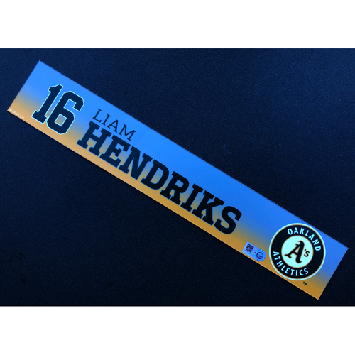 Photo of Game Used 2020 Spring Training Locker Nameplate - Liam Hendriks