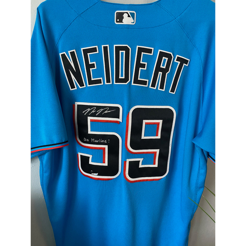 Photo of Team-Issued and Autographed Nick Neidert Jersey - Size 46